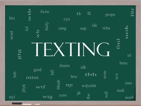 lingo: Texting Word Cloud Concept on a Blackboard with acronyms for terms such as oh my god, omg, be right back, lol and more. Stock Photo