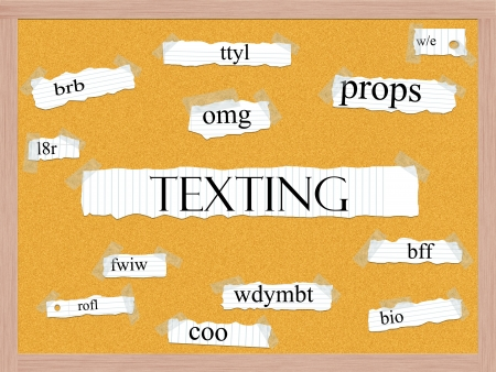 bff: Texting Corkboard Word Concept with great acronyms & terms such as oh my god, omg, be right back, lol and more. Stock Photo