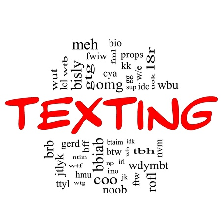 Texting Word Cloud Concept in red and black letters with acronyms for terms such as oh my god, omg, be right back, lol and more. photo