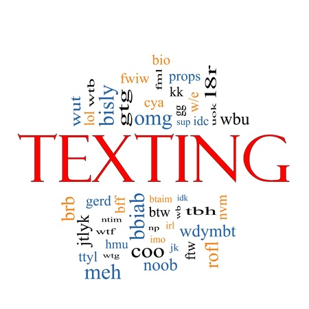 word of god: Texting Word Cloud Concept with acronyms for terms such as oh my god, omg, be right back, lol and more.