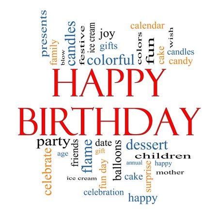 Happy Birthday Word Cloud Concept with great terms such as presents, cake, ice cream, gifts and more.