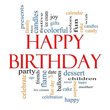 happy birthday cake: Palabra Nube Concepto feliz cumplea�os con los t�rminos de la talla de regalos, pasteles, helados, regalos y mucho m�s.