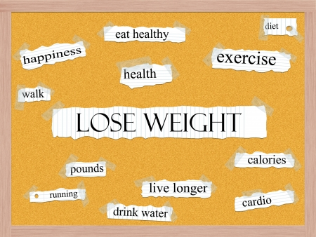 Lose Weight Corkboard Word Concept with great terms such as exercise, walk, diet, cardio and more. Stock Photo - 15224065