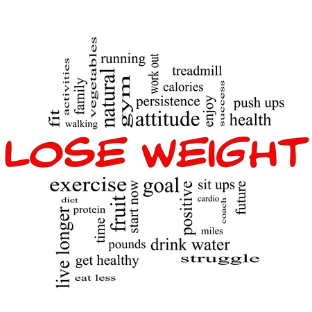 get out: Lose Weight Word Cloud Concept in red & black letters with great terms such as diet, exercise, protein, goal and more. Stock Photo