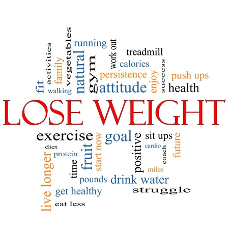 Lose Weight Word Cloud Concept with great terms such as diet, exercise, protein, goal and more.