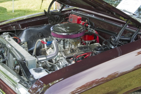 WAUPACA, WI - AUGUST 25:  Engine of 1967 Chevy Chevelle Malibu car at the 10th Annual Waupaca Rod & Classic Car Club Car Show on August 25, 2012 in Waupaca, Wisconsin. Editorial