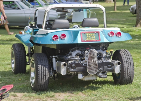 WAUPACA, WI - AUGUST 25:  Rear of Vintage Aqua Blue Buggy car at the 10th Annual Waupaca Rod & Classic Car Club Car Show on August 25, 2012 in Waupaca, Wisconsin.
