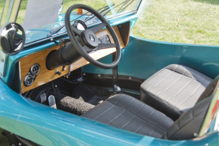 waupaca: WAUPACA, WI - AUGUST 25:  Interior of Vintage Aqua Blue Buggy car at the 10th Annual Waupaca Rod & Classic Car Club Car Show on August 25, 2012 in Waupaca, Wisconsin.