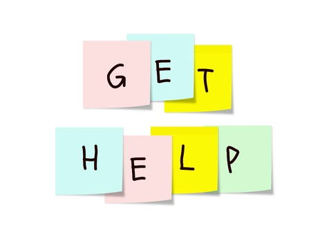 get help: Get Help written on colorful Sticky Notes making a great concept.
