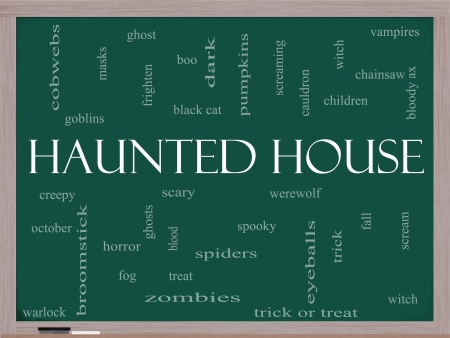 Haunted House Word Cloud Concept on a Blackboard with great terms such as cobwebs, goblins, dark, scary and more. photo