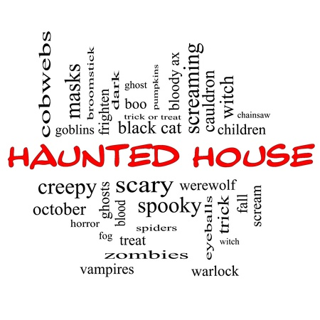 goblins: Haunted House Word Cloud Concept in red and black letters with great terms such as cobwebs, goblins, dark, scary and more.