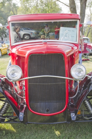 MARION, WI - SEPTEMBER 16: Grill close up of 1930 Ford Street Rod car at the 3rd Annual Not Just Another Car Show on September 16, 2012 in Marion, Wisconsin.