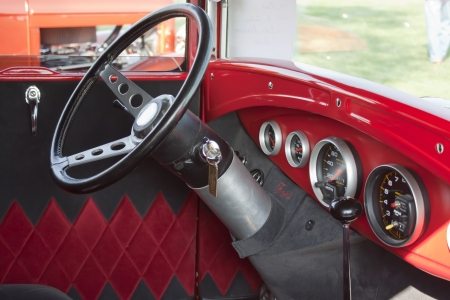 MARION, WI - SEPTEMBER 16: Interior of 1930 Ford Street Rod car at the 3rd Annual Not Just Another Car Show on September 16, 2012 in Marion, Wisconsin.