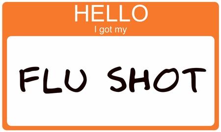 shot: Hello I got my Flu Shot orange name tag sticker. Stock Photo