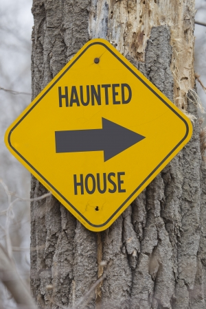 Haunted House Arrow Sign pointing the way to the haunted house.