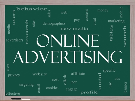 Online Advertising Word Cloud Concept on a Blackboard with great terms such as new media, social, click, sales, web and more. Stock Photo - 15516832