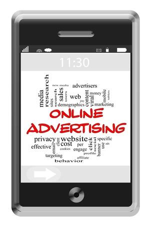 이러한 바이러스, 웹 사이트 등의 좋은 조건에 터치 스크린 전화의 온라인 Adversiting 단어 구름 개념, 클릭당 더 지불해야합니다.