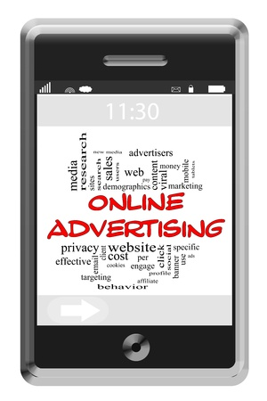 advertisers: Online Adversiting Word Cloud Concept of Touchscreen Phone with great terms such as viral, website, pay per click and more. Stock Photo