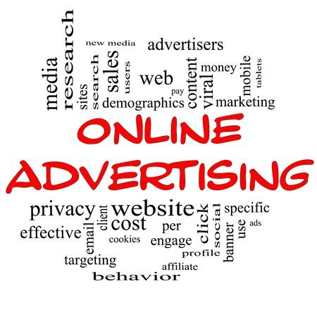 온라인 광고 단어 구름과 같은 새로운 미디어, 사회, 클릭, 판매, 웹 등과 같은 좋은 조건에 빨간색과 검은 색 글자의 개념.