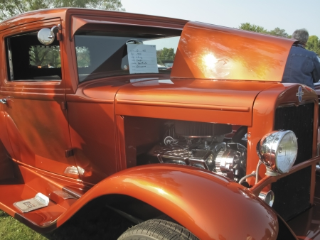 MARION, WI - SEPTEMBER 16: Front side of 1930 Orange Chevy Coupe car at the 3rd Annual Not Just Another Car Show on September 16, 2012 in Marion, Wisconsin. Stock Photo - 15318713
