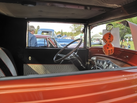 MARION, WI - SEPTEMBER 16: Interior of 1930 Orange Chevy Coupe car at the 3rd Annual Not Just Another Car Show on September 16, 2012 in Marion, Wisconsin. Stock Photo - 15318712