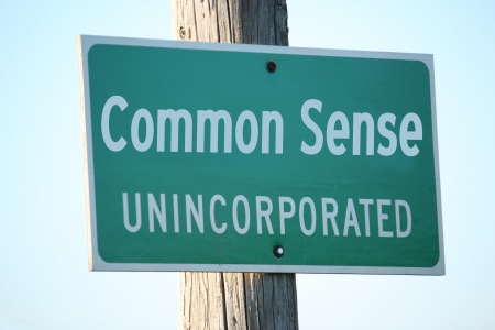 common sense: Common Sense unincorporated town sign great concept picture. Stock Photo