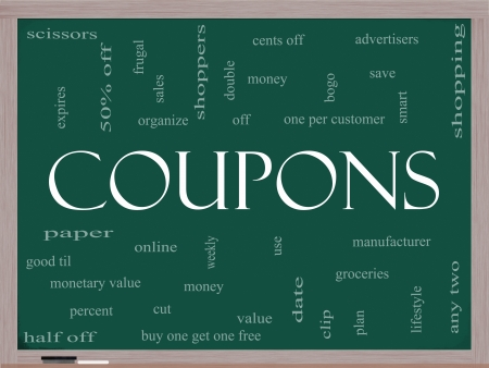bogo: Coupons Word Cloud Concept on a Blackboard with great terms such as groceries, save, money, clip and more.