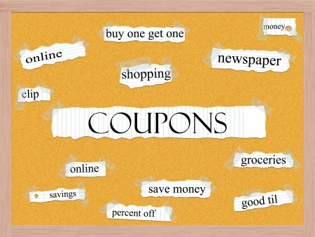 Coupons Corkboard Word Concept with great terms such as clip, savings, shopping, save and more. Stock Photo - 15516860