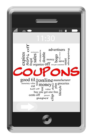 bogo: Coupons Word Cloud Concept of Touchscreen Phone with great terms such as save, shopping, clip, money and more.
