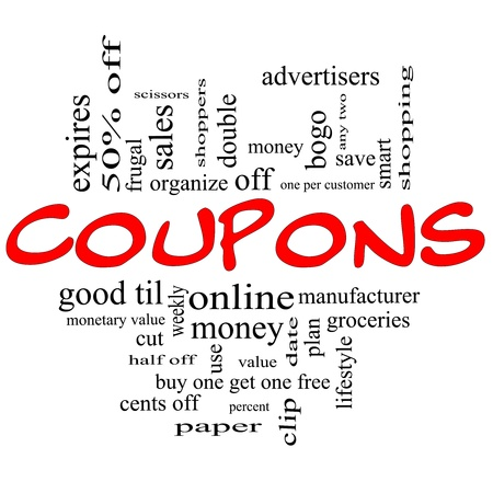 bogo: Coupons Word Cloud Concept in red and black letters with great terms such as groceries, save, money, clip and more.