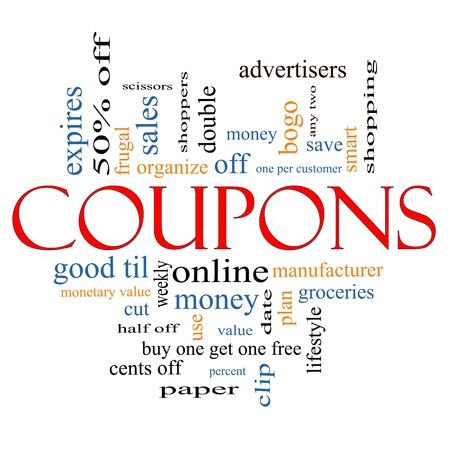 Coupons Word Cloud Concept with great terms such as groceries, save, money, clip and more. photo