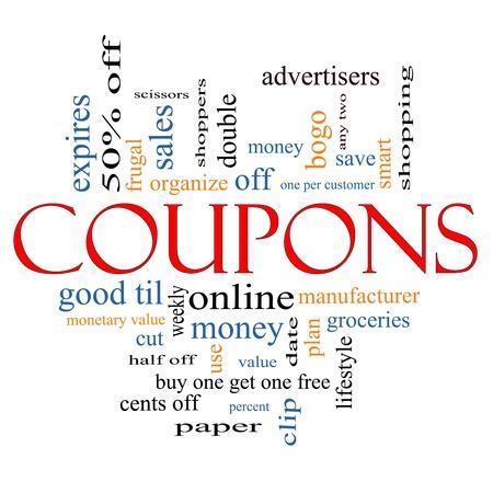 coupon: Coupons Word Cloud Konzept mit Top-Konditionen wie Lebensmittel, sparen, Geld, Clip und mehr. Lizenzfreie Bilder