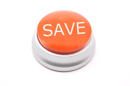 Large, red, push save button photographed on a white background