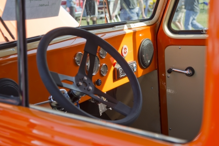 MARION, WI - SEPTEMBER 16: Interior of 1951 Willys Utility Station Wagon at the 3rd Annual Not Just Another Car Show on September 16, 2012 in Marion, Wisconsin.