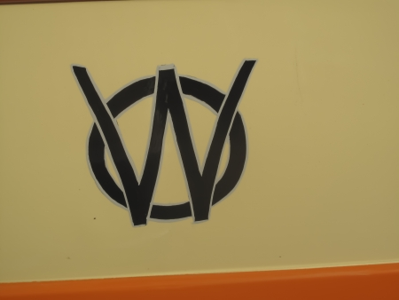 MARION, WI - SEPTEMBER 16: Classic Logo on 1951 Willys Utility Station Wagon at the 3rd Annual Not Just Another Car Show on September 16, 2012 in Marion, Wisconsin.