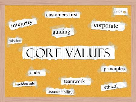 nucleo: Valores Fundamentales Concepto Corkboard Word con t�rminos de calidad, como misi�n, la integridad, el c�digo de �tica, y mucho m�s.