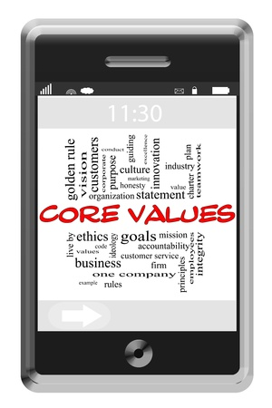 Core Values Word Cloud Concept of Touchscreen Phone with great terms such as vision, mission, ethics and more.