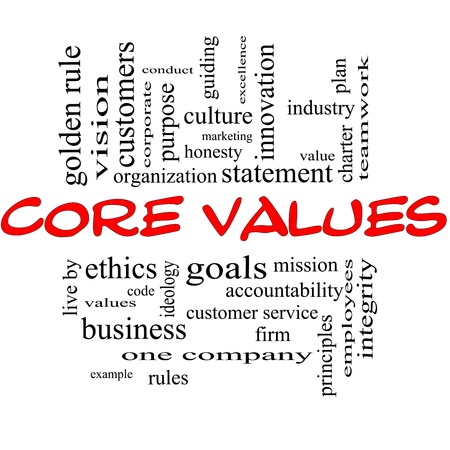 Core Values Word Cloud Concept in red and black letters with great terms such as mission, statement, ethics, vision, code and more.