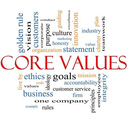 dichiarazione: Word Core Values ??Cloud Concept con termini del calibro di missione, dichiarazione, l'etica, la visione, il codice e altro ancora.