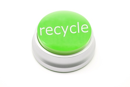 Large green Recycle button making a great conceptual image Banco de Imagens