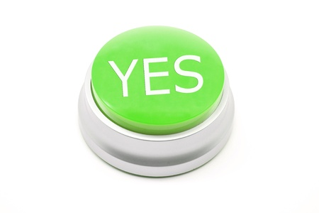 Large green YES button making a great conceptual image