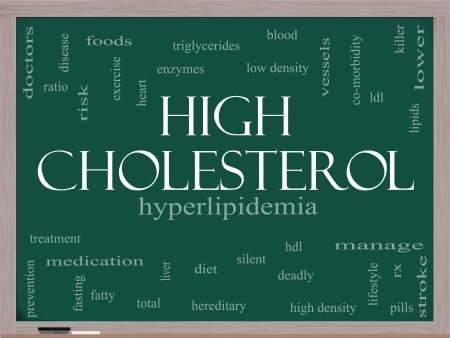 High Cholesterol Word Cloud Concept on a Blackboard with great terms such as hyperlipidemia, hdl, ldl and more. Stock Photo - 15571995