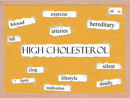 High Cholesterol Corkboard Word Concept with great terms such as blood, arteries, exercise, hdl and more. Stock Photo - 15571996