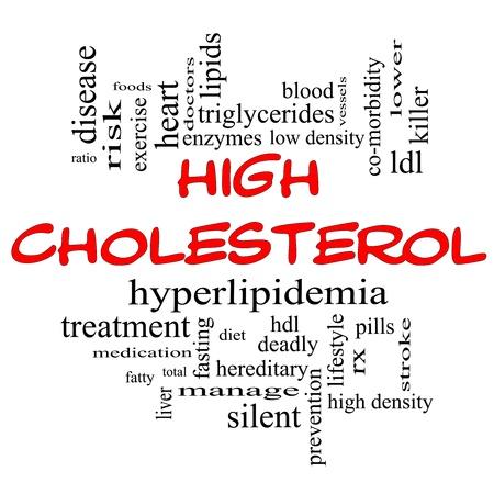 triglycerides: Palabra Nube Concepto Colesterol alto en letras rojas y negro con t�rminos de calidad, como la hiperlipidemia, HDL, LDL y mucho m�s. Foto de archivo