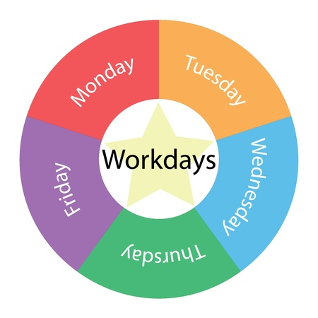 Workdays circular concept with great terms around the center including Monday through Friday with a yellow star in the middle Imagens