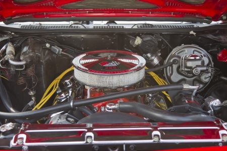 ss: MARION, WI - SEPTEMBER 16: Engine of Red Chevy Chevelle SS car at the 3rd Annual Not Just Another Car Show on September 16, 2012 in Marion, Wisconsin. Editorial