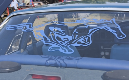MARION, WI - SEPTEMBER 16: Rear Window decal on 1980 Blue Ford Mustang car at the 3rd Annual Not Just Another Car Show on September 16, 2012 in Marion, Wisconsin. Editorial