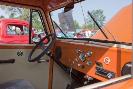 MARION, WI - SEPTEMBER 16: Passenger view of Interior of 1951 Willys Utility Station Wagon at the 3rd Annual Not Just Another Car Show on September 16, 2012 in Marion, Wisconsin.