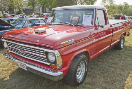 MARION, WI - SEPTEMBER 16: Front of 1969 Ford F100 Ranger Truck at the 3rd Annual Not Just Another Car Show on September 16, 2012 in Marion, Wisconsin.