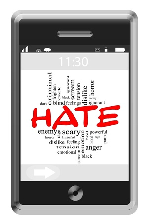 ignorant: Hate Word Cloud Concept of Touchscreen Phone with great terms such as ignorant, feelings, rage and more.